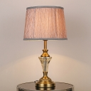 Contemporary 1 Bulb Task Lighting Gold Barrel Small Desk Lamp with Fabric Shade