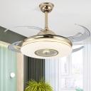 Nickel/Gold LED Semi Flush Mounted Lamp Modern Acrylic Circle Shade 4 Blades Pendant Fan Lamp, 48