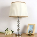 1 Head Tapered Drum Nightstand Lamp Contemporary Fabric Reading Book Light in Beige