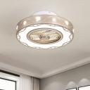 Light Gold LED Semi Flush Lighting Modernist Metal Drum Ceiling Fan Lamp with Acrylic Shade, 19.5
