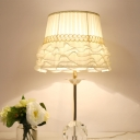 Modern Barrel Desk Light Fabric 1 Bulb Table Lamp in White with Ball Clear Crystal Base
