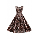 Fancy Women's Sleeveless Round Neck Half Zipper Buckle Belted Leopard Pattern Long Pleated Swing Dress in Brown