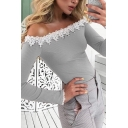 Stylish Ladies' Long Sleeve Off the Shoulder Lace Trim Knitted Plain Slim Fit T-Shirt