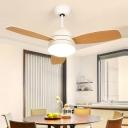 Modern Dome Semi Flush Lighting LED Metallic Ceiling Fan Lamp in Black/White with 3 Wood Blades, 42