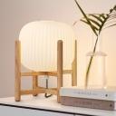 Lantern Nightstand Lamp Modernist White Glass 1 Head Living Room Reading Book Light