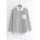Casual Girls' Long Sleeve Lapel Collar Button Down Striped Pocket Squirrel Printed Contrasted Loose Fit Shirt