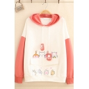 Fashionable Women's Long Sleeve Paw Drawstring Cat Printed Colorblock Flap Pocket Relaxed Hoodie