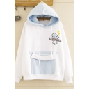 Funny Cute Girls' Long Sleeve Drawstring Cartoon Cloud Letter Embroidery Pouch Pocket Color Block Loose Hoodie