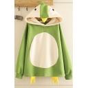 Designer Lovely Long Sleeve Color Block Penguin Patterned Loose Fit Hoodie for Girls