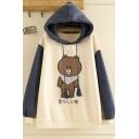 Preppy Girls' Long Sleeve Brown Bear Print Japanese Letter Color Block Drawstring Loose Hoodie