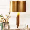 Cylinder Fabric Desk Light Modernist 1 Head Gold Night Table Lamp with Marble Base