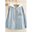Girls' Cute Long Sleeve Hooded Letter LOVELY EVERY SINGLE DAY Cat Graphic Zipper Front Colorblocked Loose Jacket