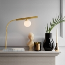 Sphere Milk Glass Table Light Minimalism 1 Head Gold Nightstand Lamp with Marble Base