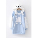 Blue Lovely Fashion Long Sleeve Letter POLAR BEAR Bear Printed Color Block Longline Oversize Bear Ear Hoodie with Pocket