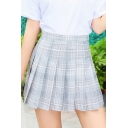 Lovely Ladies High Waist Plaid Patterned Mini Pleated A-Line Skirt