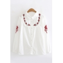 Fancy Girls Long Sleeve Lapel Collar Button Down Floral Embroidery Stringy Selvedge Relaxed Shirt in White