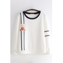 Womens Pretty Long Sleeve Round Neck Bear Embroidered Contrasted Piped Loose Fit Pullover Sweatshirt