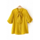 Fashionable Womens Plain Short Sleeves Bow Tie Neck Button Down Ruffle Trimed Loose Shirt