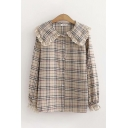Lovely Womens Long Sleeve Peter Pan Collar Button Down Lace Trimmed Plaid Patterned Relaxed Fit Shirt
