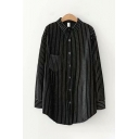 Ladies Black Trendy Long Sleeve Lapel Collar Button Down Stripe Printed Curved Hem Long Oversize Shirt