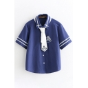 Womens Short Sleeve Lapel Neck Button Down Varsity Striped Boat Pattern Relaxed Shirt with Tie