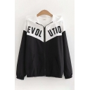 Casual Womens Long Sleeve Zipper Front Letter EVOL UTIO Printed Colorblock Relaxed Jacket