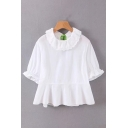 Lovely Girls White Short Sleeve Crew Neck Lace Trim Ruffled Relaxed Fit Blouse Top