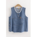 Womens Sleeveless Round Neck Button Detail Pocket Patched Relaxed Fit Denim Tank Top in Blue
