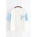 Preppy Girls Short Sleeve Round Neck Chinese Letter Pig Graphic Colorblock Relaxed Fit T Shirt