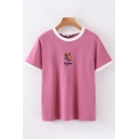 Preppy Girls Short Sleeve Round Neck Floral Letter Embroidered Contrasted Piped Relaxed Tee in Pink