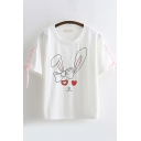 Lovely Chic Womens Short Sleeve Crew Neck Rabbit Printed Lace Up Relaxed T-Shirt