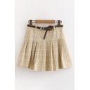 Elegant Girls High Waist Checkered Printed Pleated Short A-Line Skirt with Belt