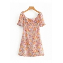 Pretty Ladies Short Sleeve Round Neck Bow Tie All-Over Flower Stringy Selvedge Mini A-Line Dress in Orange