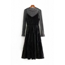 Sexy Formal Ladies Long Sleeve Crew Neck Bling Bling Mesh Top Velvet Ruffled Trim Cami Dress Two Piece Sets in Black
