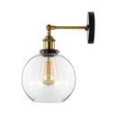 Glass Globe Wall Sconce in Antique Brass with Clear Glass for Bedside Foyer Hallway