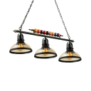 Industrial 3 Light Island Light with Clear Glass Shade in Black Billiard Ball Decorative Chandelier