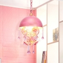 Bowl Living Room Pendant Lamp Pastoral Metal 1 Light Pink/Blue Hanging Ceiling Light with Crystal Accent