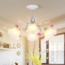 Pastoral Scalloped Chandelier Light Fixture 4/6/9 Heads Metal LED Hanging Lamp in White for Bedroom