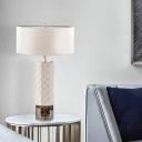 White Drum Task Lighting Modernist 1 Head Fabric Small Desk Lamp for Living Room