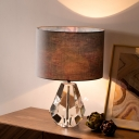 Diamond Table Light Contemporary Beveled Crystal 1 Bulb Small Desk Lamp in Brown