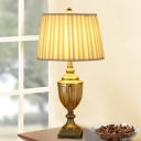 1 Head Living Room Desk Light Modern Gold Nightstand Lamp with Pleated Fabric Shade