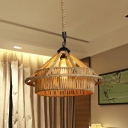 Straw Hat Rope Pendant Light Fixture Industrial 1 Light Restaurant Ceiling Lamp in Beige