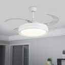 White Drum Hanging Fan Lighting Modern Acrylic 4-Blade LED Semi Flush Mount Lamp with Wall/Remote Control, 42