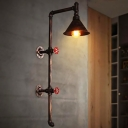 Metal Cone Wall Lighting Fixture Rustic 1 Bulb Corridor Sconce in Black with Pencil Arm and Valve Deco