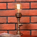1 Head Table Light Industrial Pipe Metal Desk Lamp in Silver/Brass with Globe Clear Glass Shade