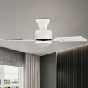 Circular Living Room Fan Light Modernist Acrylic LED White Semi Flush Mount Lighting with 3 Blades, 32
