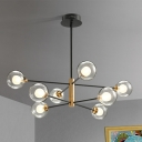 Clear Glass Globe Ceiling Chandelier Modernism 8 Bulbs Black and Gold Pendant Light with Sputnik Design