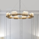 Tube Chandelier Pendant Light Modern Clear Glass 24-Bulb Living Room Suspension Lamp in Brass with Ring Design