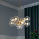 Brass Bubble Hanging Lighting Modernism 9-Light Clear Glass Chandelier over Dining Table