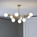 White Frosted Glass Ball Pendant Modernist 9 Bulbs Brass Finish Chandelier Lighting Fixture